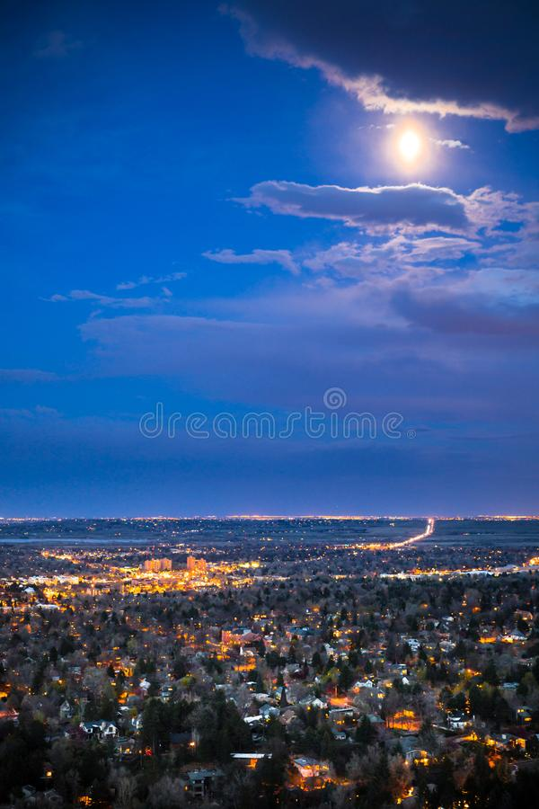 Boulder Colorado from above at night with lights royalty free stock images