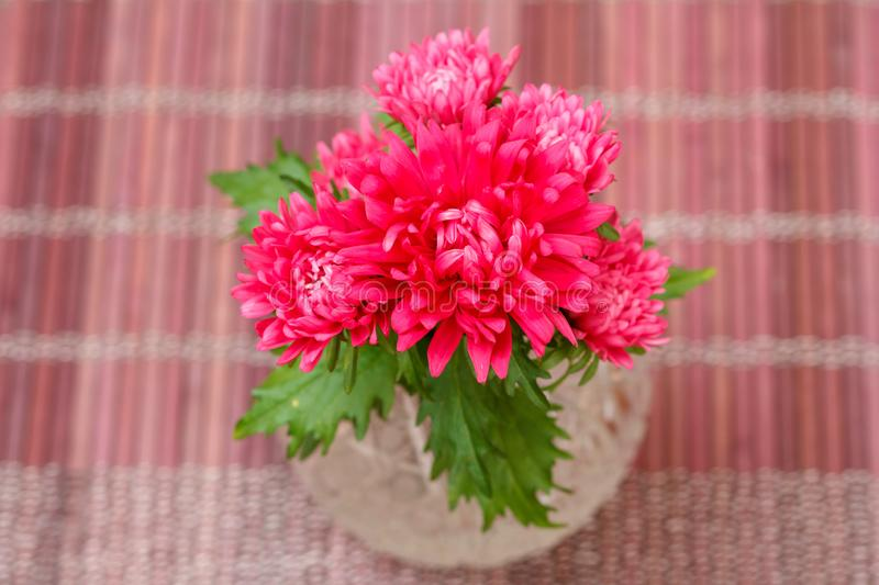 Beautiful bouquet of aster flowers in crystal vase on wooden napkin royalty free stock images