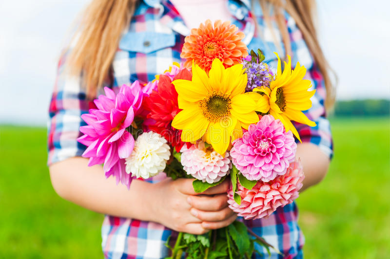 Beautiful bouquet of bright and colorful flowers stock photos