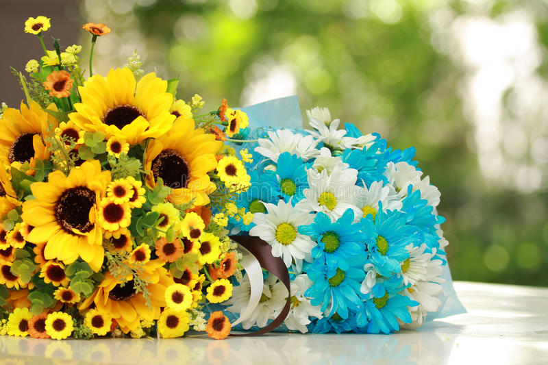 Beautiful Bouquet Of Bright Yellow And Blue Flower Stock Photo ...