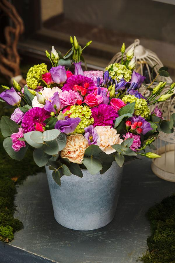 Beautiful Bouquet In A Bucket Stock Image - Image of petal ...
