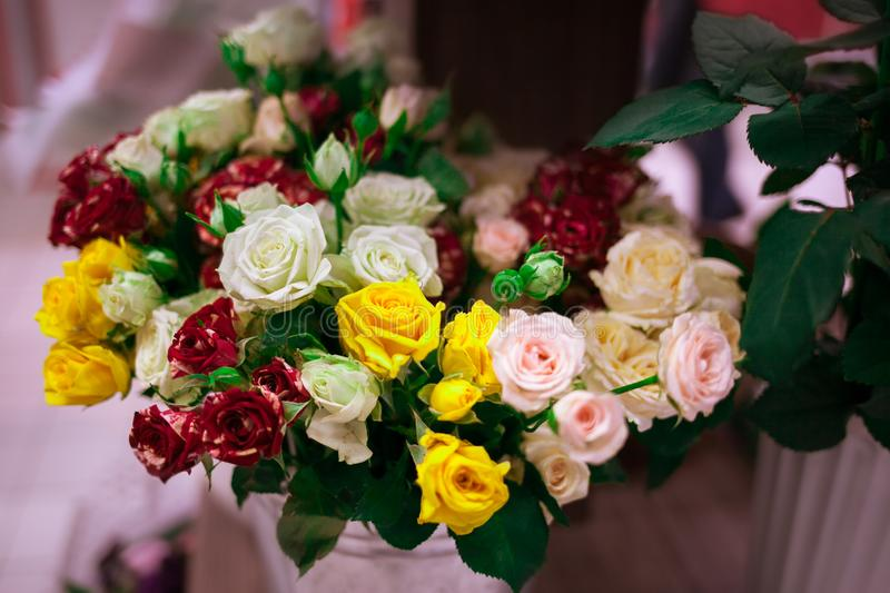 Beautiful bouquet with color roses. royalty free stock images
