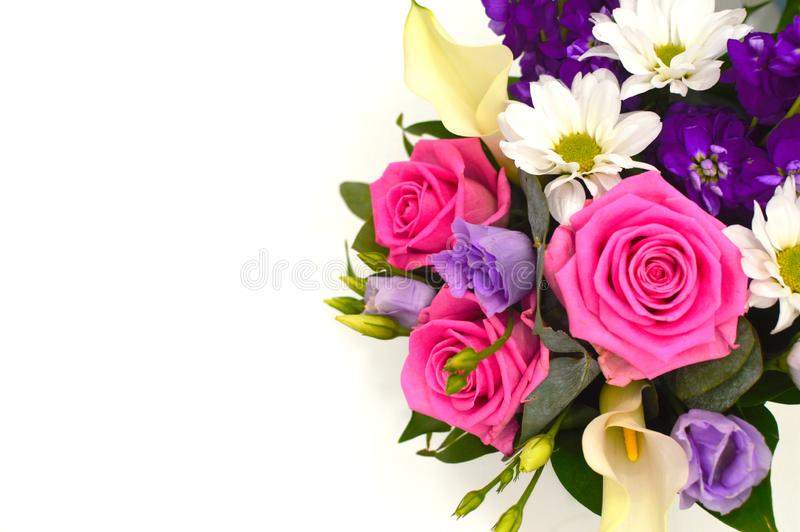 Beautiful bouquet of colorful flowers on a white background close royalty free stock images