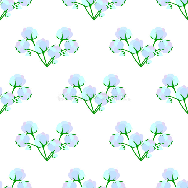 Beautiful bouquet composition cotton flower seamless. Beautiful bouquet composition cotton flower, seamless pattern. Ingredient for fabric, treatment, cosmetics royalty free illustration