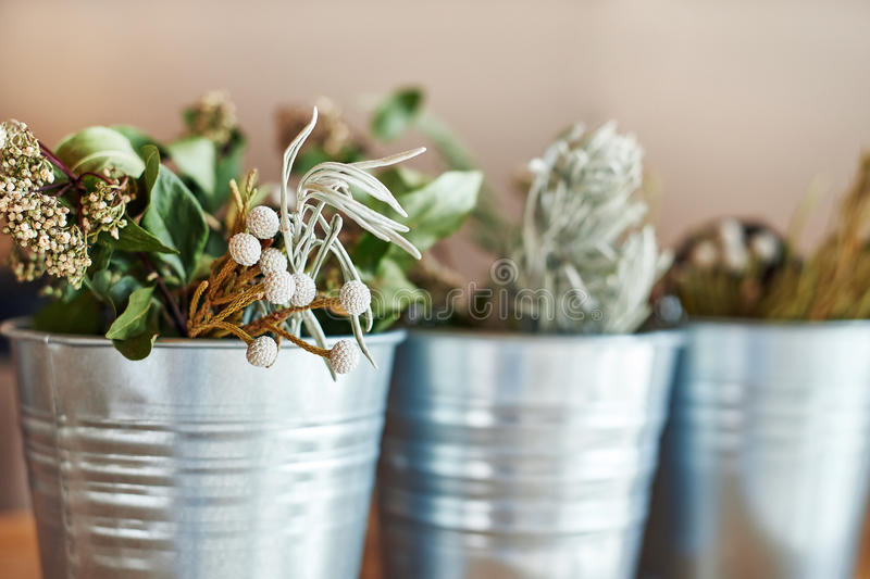 Beautiful bouquet of dried flowers stock photo