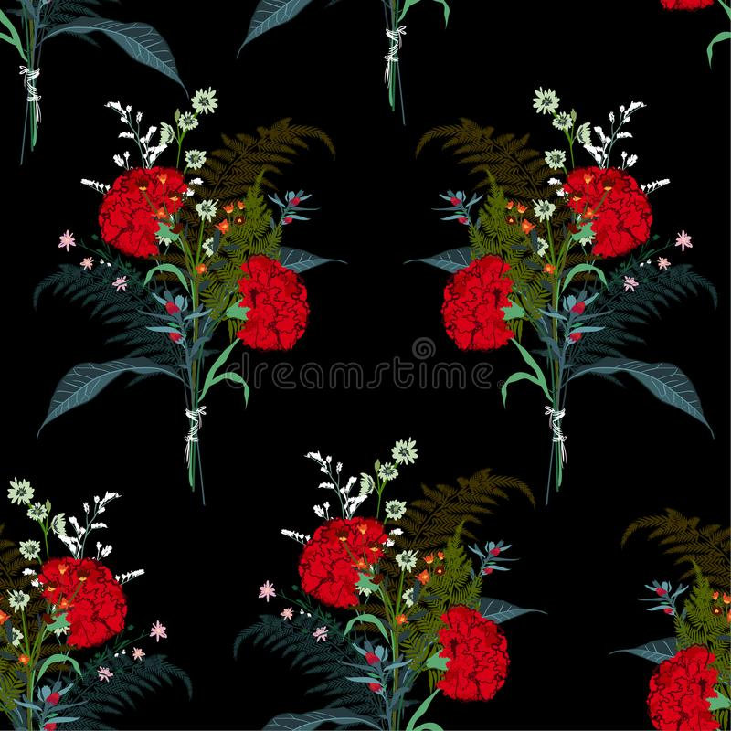 Beautiful bouquet flower from many kind of florals seamless pattern vector for fashion fabric and all prints. On black background royalty free illustration