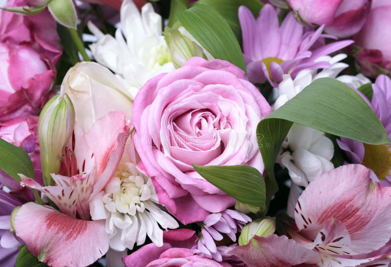 Beautiful bouquet of flowers close up. Beautiful pink bouquet of flowers close up, selective focus stock image