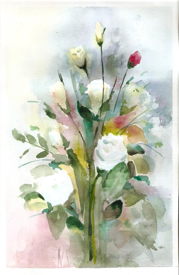 Beautiful bouquet of flowers. Flower -Eustoma. Drawing watercolor. A gift for any holiday stock illustration