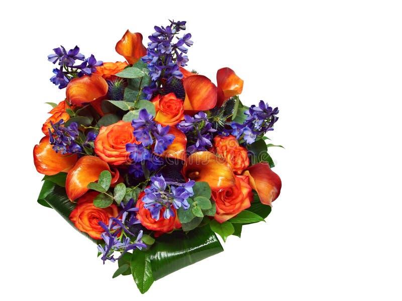 Beautiful bouquet of orange rose and kalas. stock photos