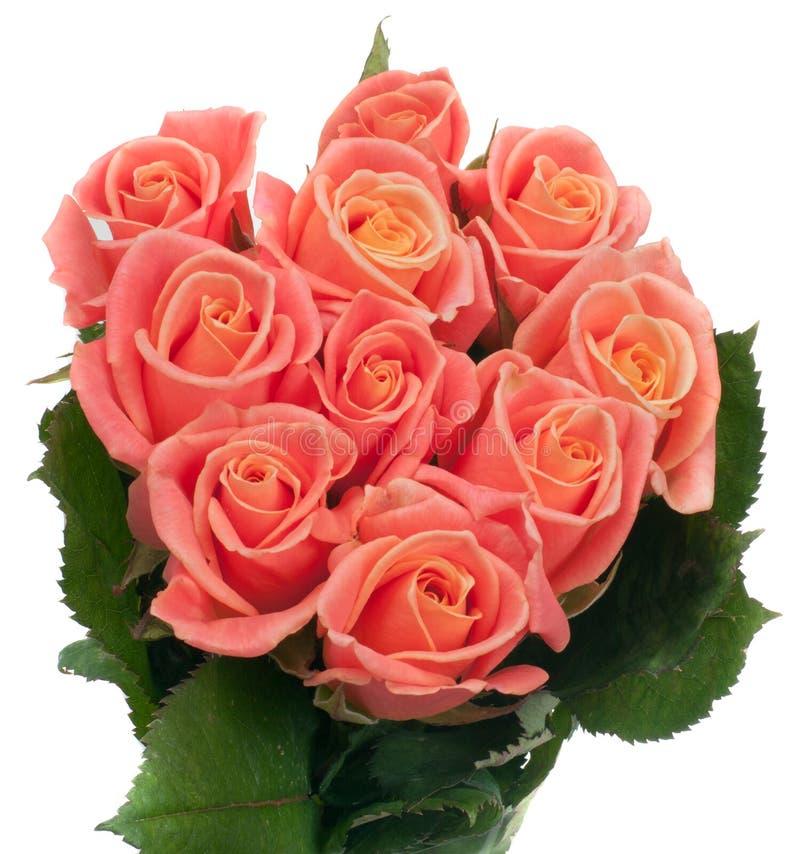 Beautiful Bouquet Of Orange Roses Stock Photo - Image of angle, head ...