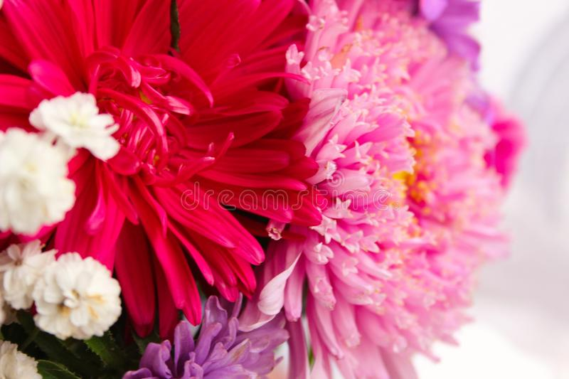 Beautiful bouquet of pink flowers stock photo
