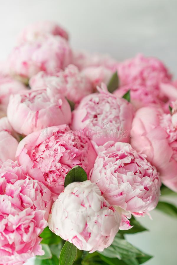 Beautiful bouquet of pink peonies . Floral composition, daylight. Wallpaper. Lovely flowers in glass vase. Lovely flowers in glass vase. Beautiful bouquet of royalty free stock photography