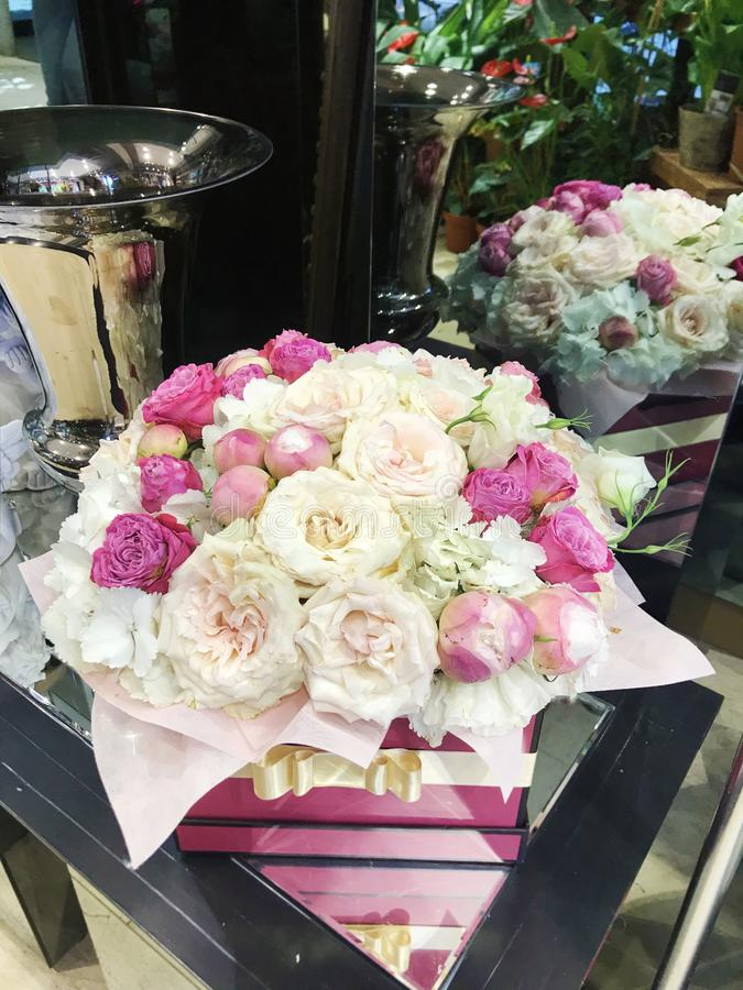 Flower Box of Pink Peonies and Roses royalty free stock images