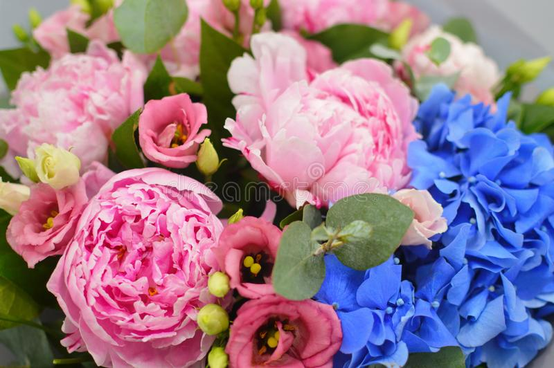 Beautiful bouquet with pink roses royalty free stock photography