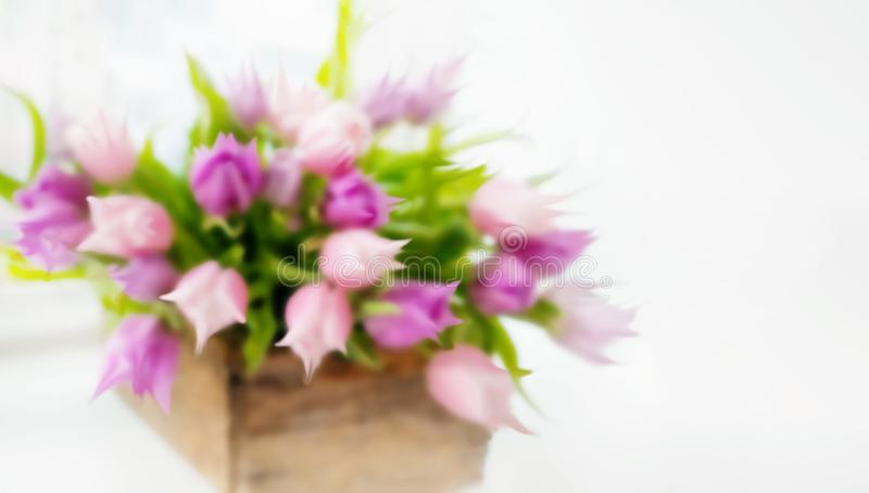 A beautiful bouquet of pink tulips. Blur. Blurred decorative background. Copy space stock photos