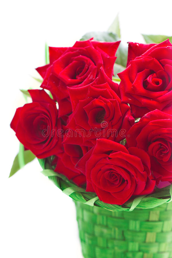 Beautiful bouquet of red roses. stock photo