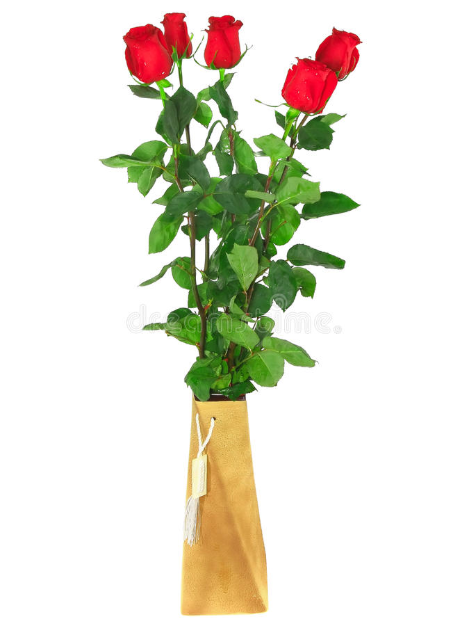 Beautiful bouquet of red roses .  Isolated.