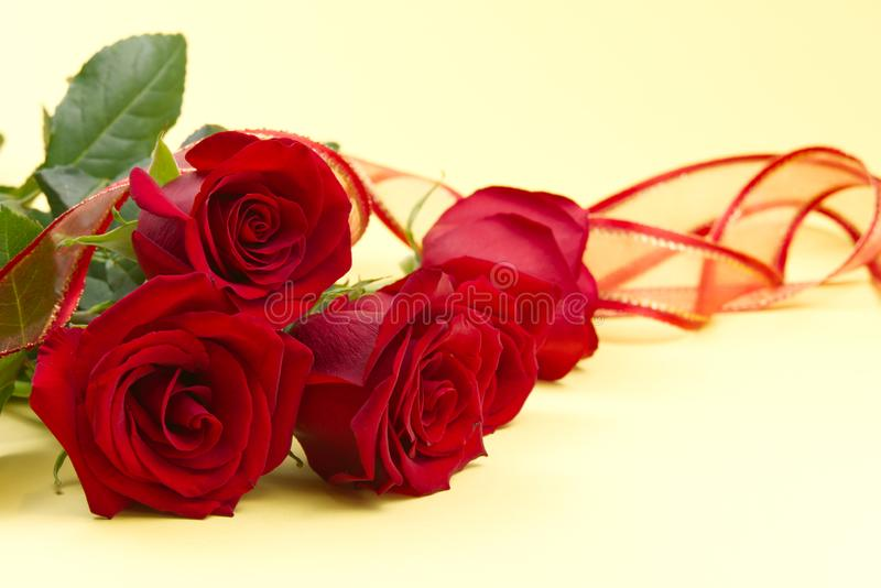 Beautiful bouquet of red roses on light yellow background. The concept of st valentine`s day, Mother`s Day, March 8. Beautiful bouquet of red roses on light stock photos