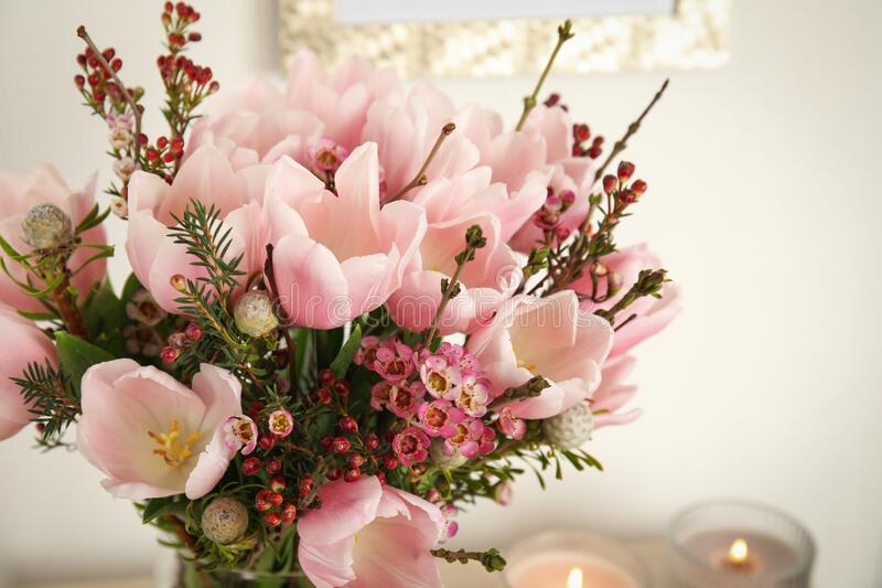 Beautiful bouquet with spring pink tulips, closeup stock photos