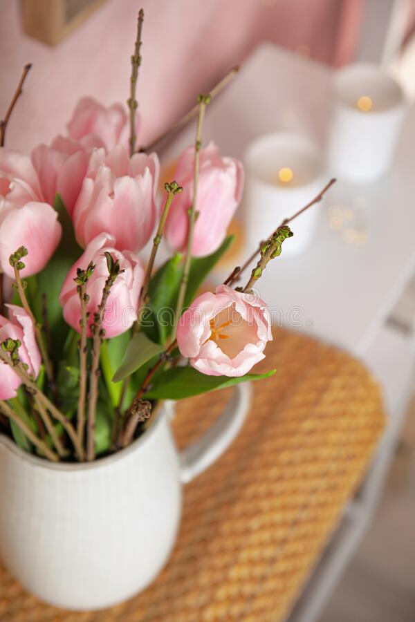 Beautiful bouquet with spring pink tulips, closeup stock photography