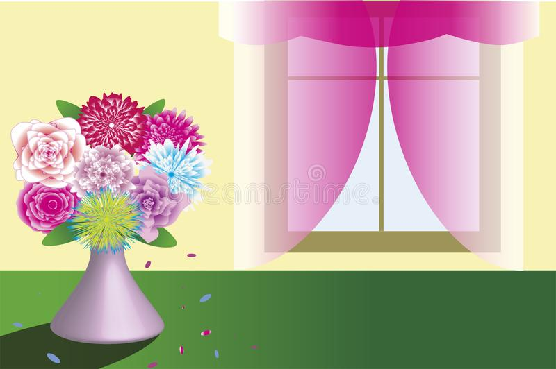 Beautiful bouquet in vase standing near the window template. Vector illustration. Clipart. greeting card, invitation vector illustration