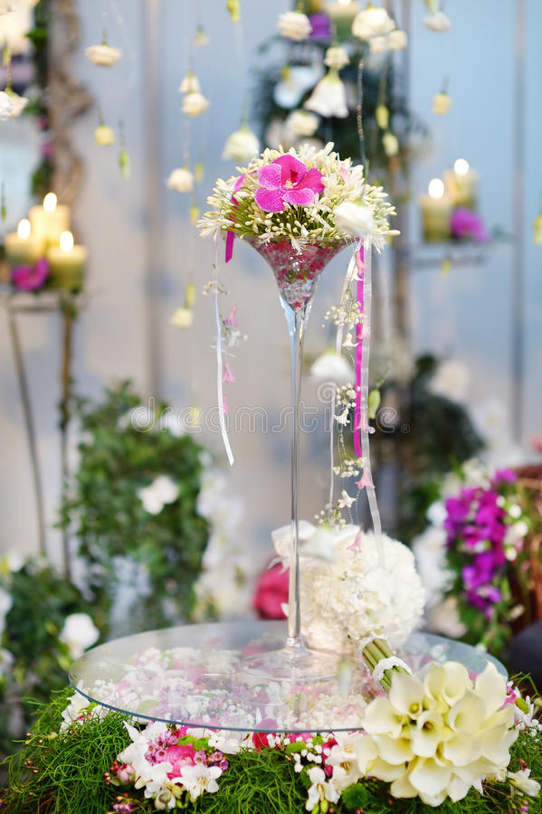 Beautiful bouquet of white and pink orchids royalty free stock image