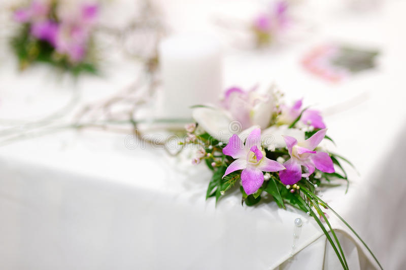 Beautiful bouquet of white and pink orchids royalty free stock photo