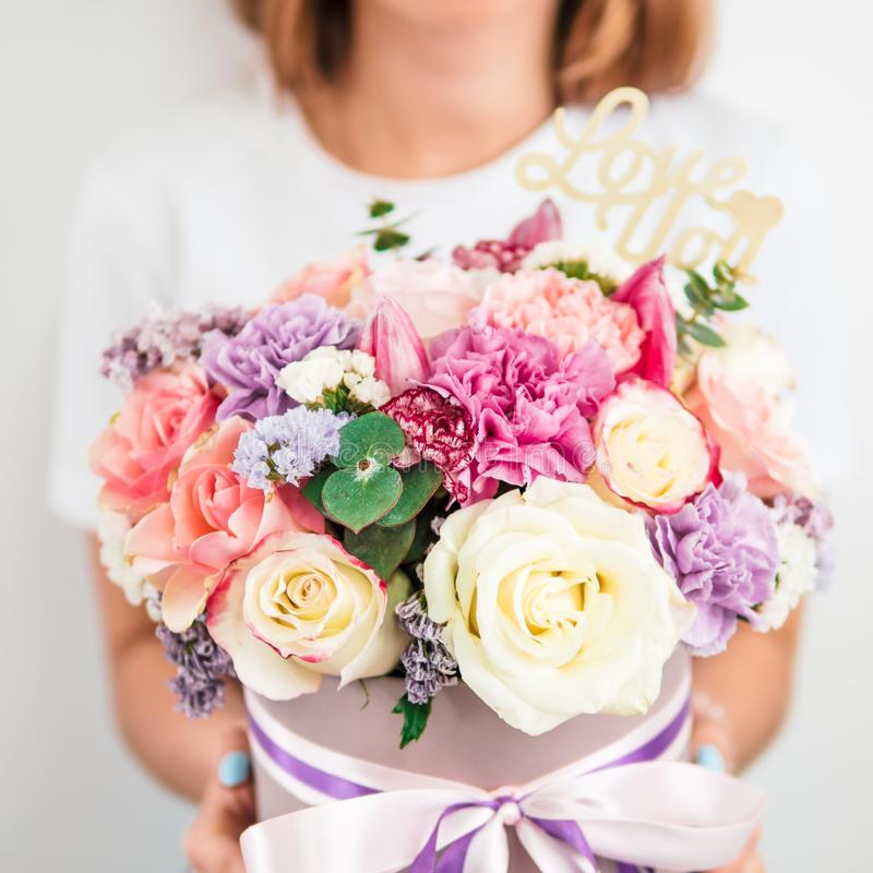 Beautiful bouquet in woman hand stock photography