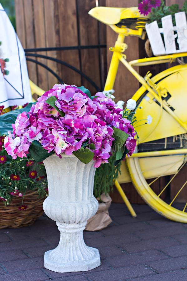 Beautiful bouquets of flowers on the market. Showcase with flowers. Sale of flowers. Flower shop. stock image