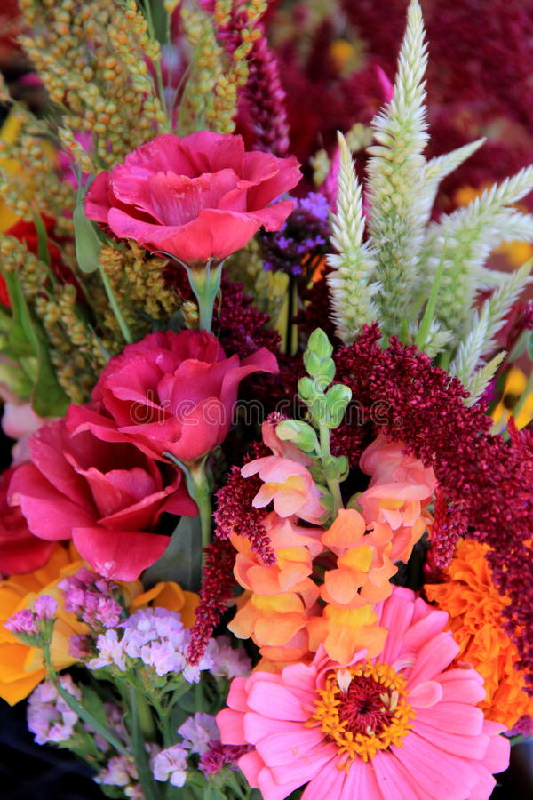 Beautiful Bouquets Of Flowers Set On Table Stock Image - Image of ...