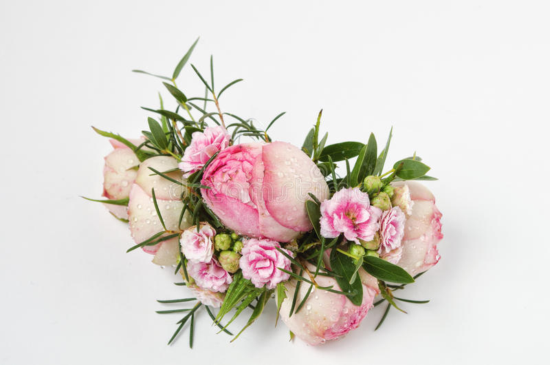 Beautiful boutonniere made from the white rose royalty free stock photos