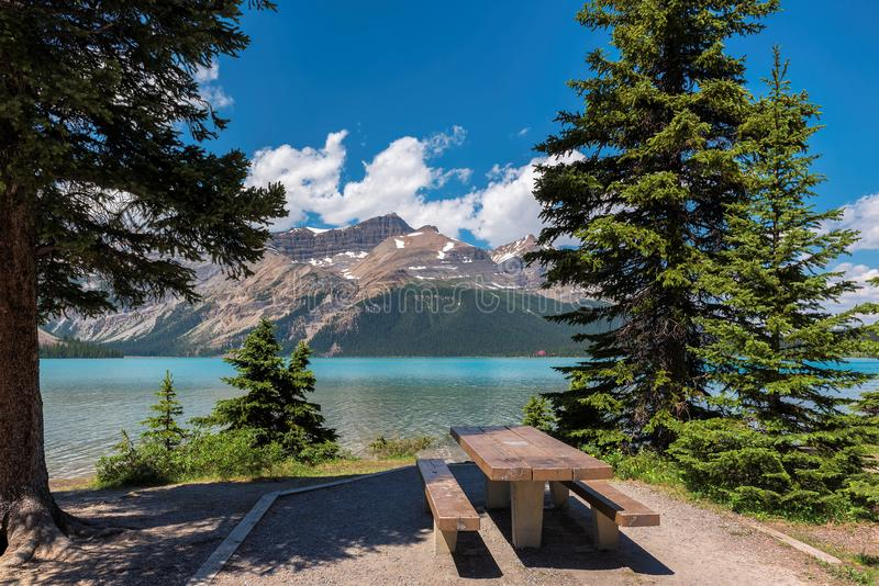 Picnic area near Bow lake in Banff National Park stock image