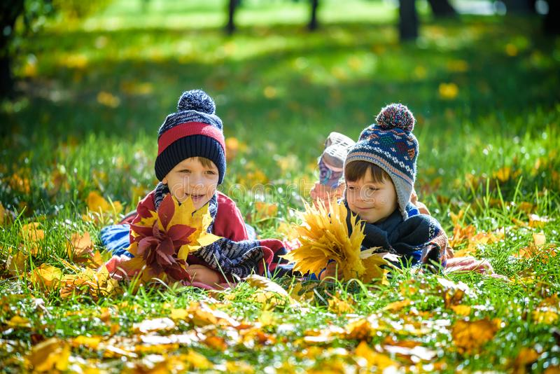 Beautiful boy, little child laying with a lot of yellow autumn leaves in park. Kid boy having fun on sunny warm october day. stock photos