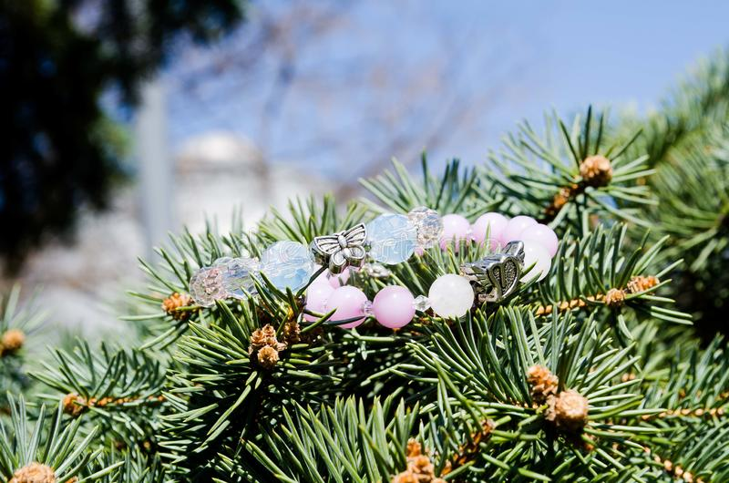 Beautiful bracelets for girls. Bracelets. Decorations. Beaded bracelets. Moonstone. Delicate decoration. Bijouterie. Accessories royalty free stock photos