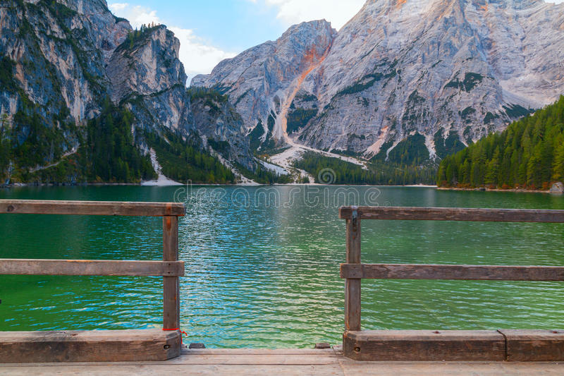 Beautiful Braies lake in the background of Seekofel mountain. In Dolomites,Italy Pragser Wildsee royalty free stock photo