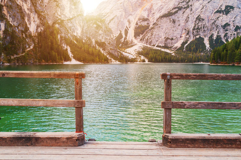 Beautiful Braies lake in the background of Seekofel mountain. In Dolomites,Italy Pragser Wildsee royalty free stock photography