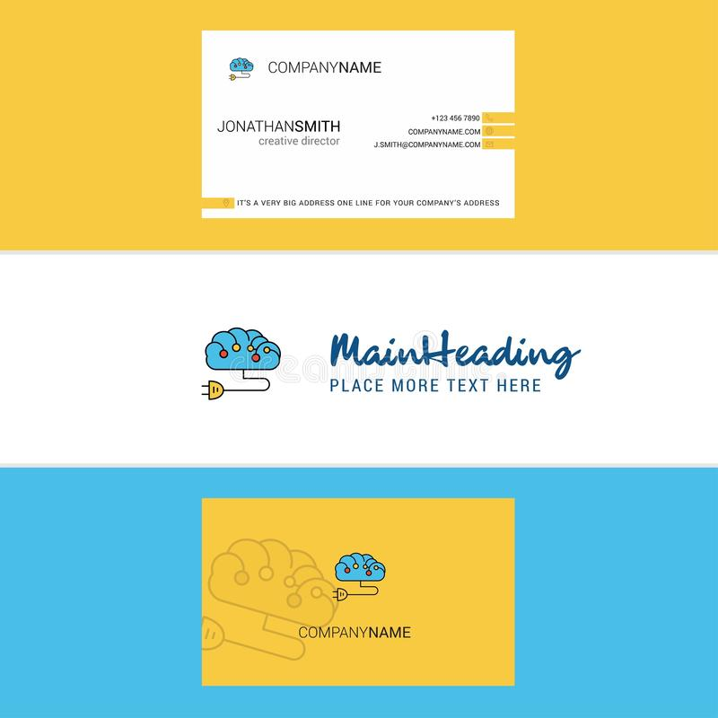 Beautiful Brain circuit Logo and business card. vertical Design Vector royalty free illustration