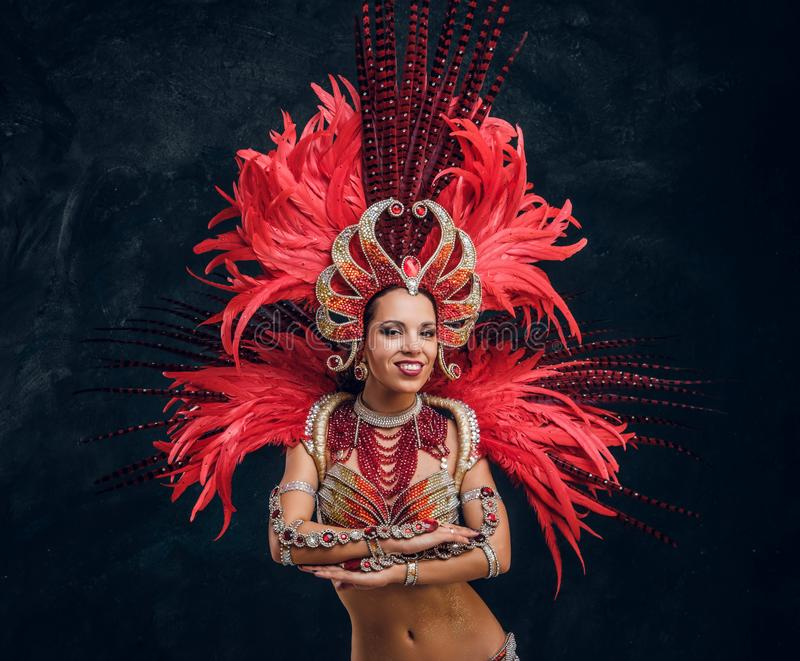 Beautiful brasil dancer in red feather costume is dancing on small scene. stock photography