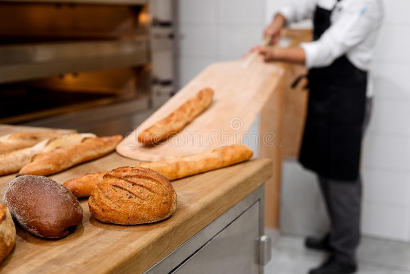 Beautiful bread loaves on table royalty free stock photography