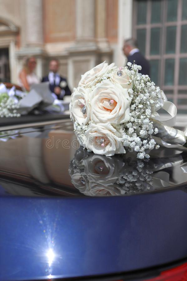 A beautiful bridal bouquet at a wedding party. Wedding concept stock image