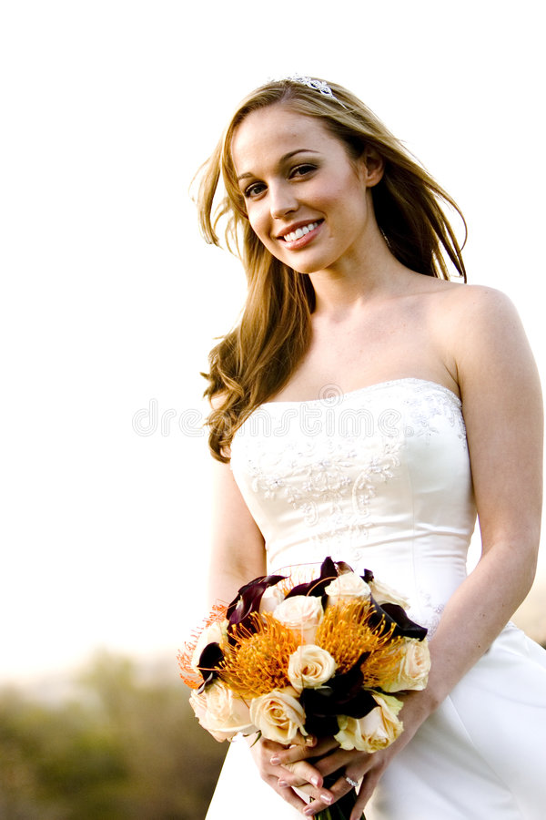 Beautiful Bride. A beautiful bride looking at the camera royalty free stock photos