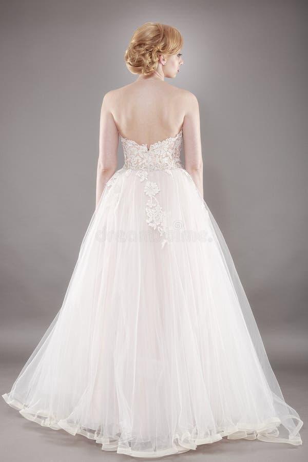 Beautiful bride and beautiful wedding dress royalty free stock photos