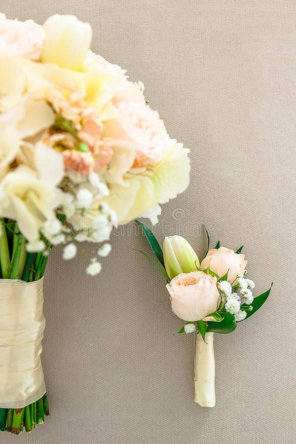 Beautiful bride with bouquet before wedding ceremony stock photo