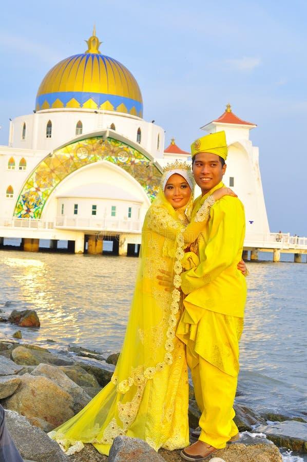 Beautiful bride and bridegroom stock image