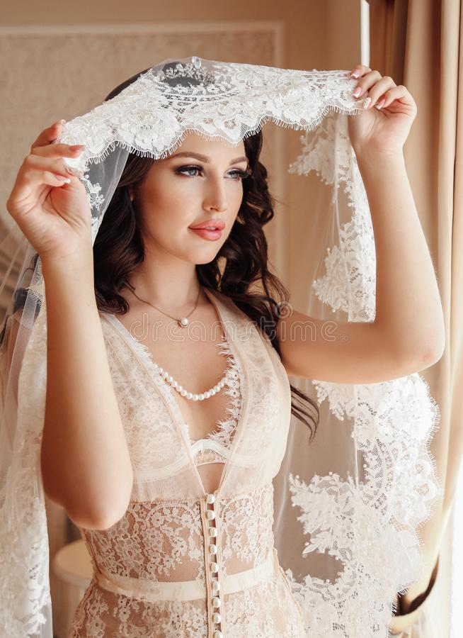 Beautiful bride with dark hair in luxurious wedding dress posing. Fashion interior photo of beautiful bride with dark hair in luxurious lingerie under wedding stock image
