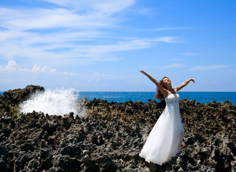 Beautiful bride in dreams stock photo