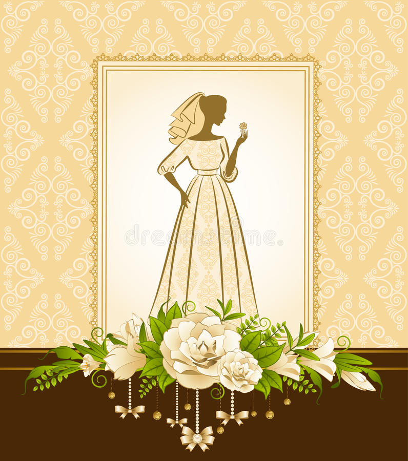 Download Beautiful bride in dress. stock vector. Illustration of bridal - 20651749
