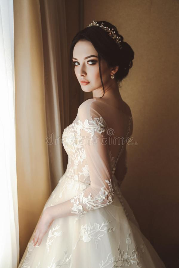 Beautiful bride in elegant wedding dress and diadem posing in r stock image