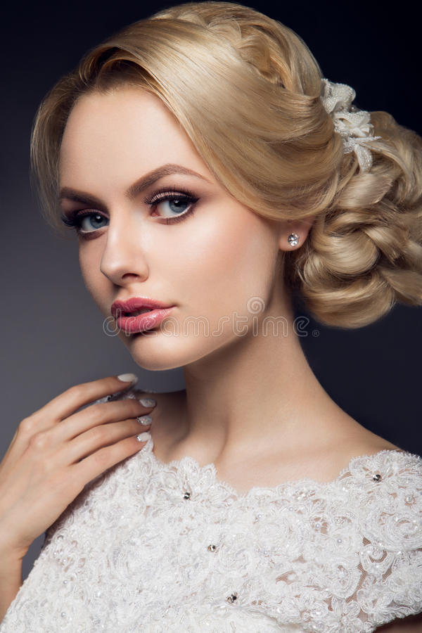 Beautiful bride with fashion wedding hairstyle. Bride royalty free stock photos