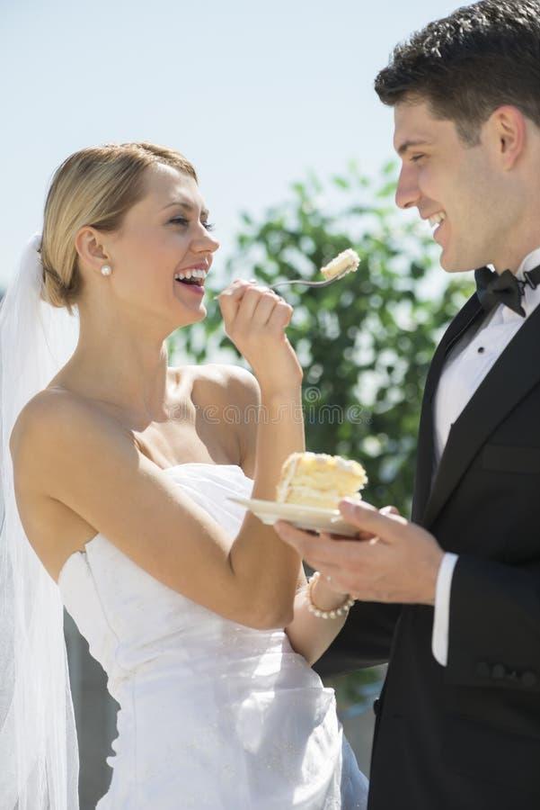 Download Beautiful Bride Feeding Wedding Cake To Groom Stock Photo - Image of celebration, dress: 32429822